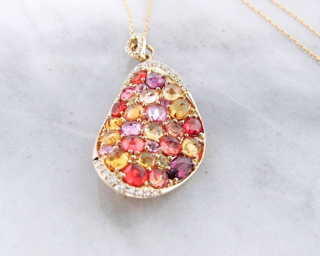 Sleek Multi-Gem Yellow Gold Necklace, Gem Encrusted Autumn