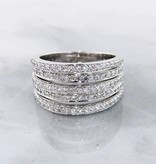 Sleek Diamond White Gold Stacked Band Ring