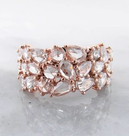 Motion Diamond Rose Gold Ring, VS Rose Cut Mosaic