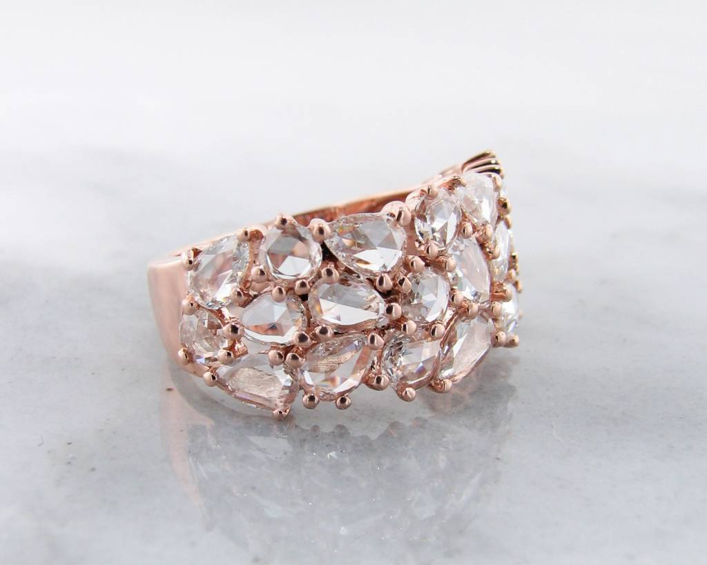 Diamond Rose Gold Ring, Rose Cut Mosaic