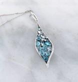 Sleek Blue Topaz White Gold Multi-Stone Necklace