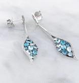 Motion Blue Topaz White Gold Multi Stone Earrings, Mosaic