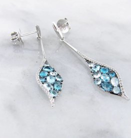 Sleek Blue Topaz White Gold Multi Stone Earrings, Mosaic