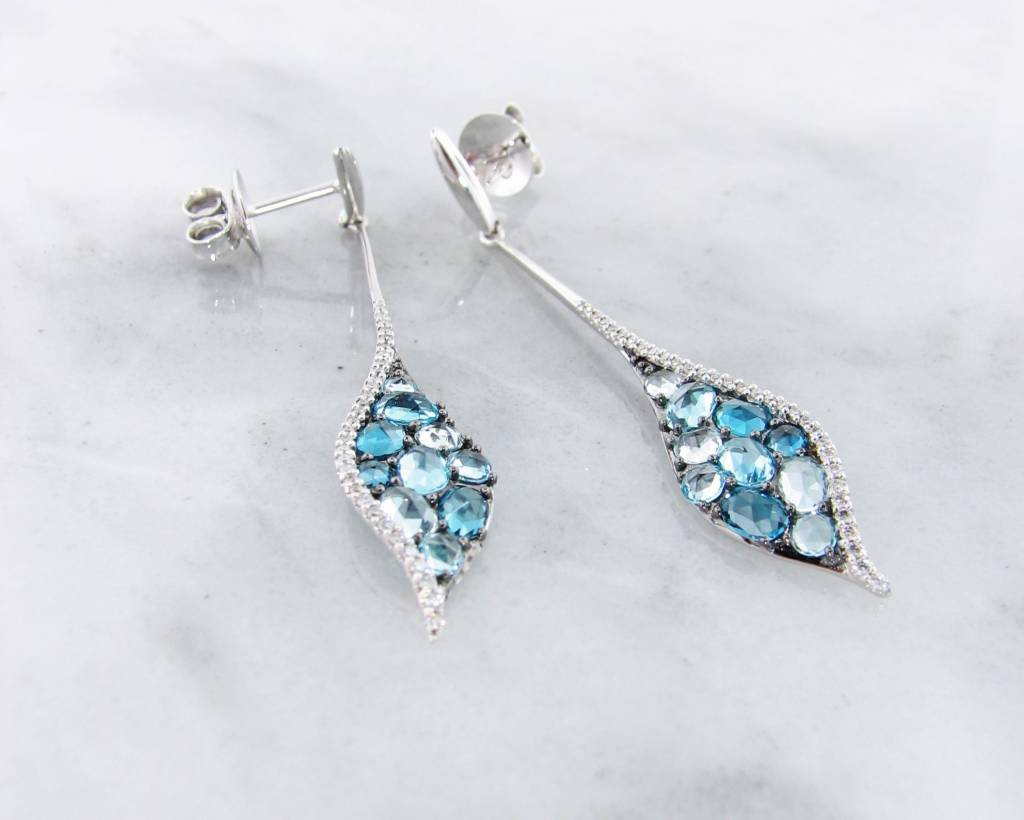 earrings white stud blue gold topaz in with gemstone