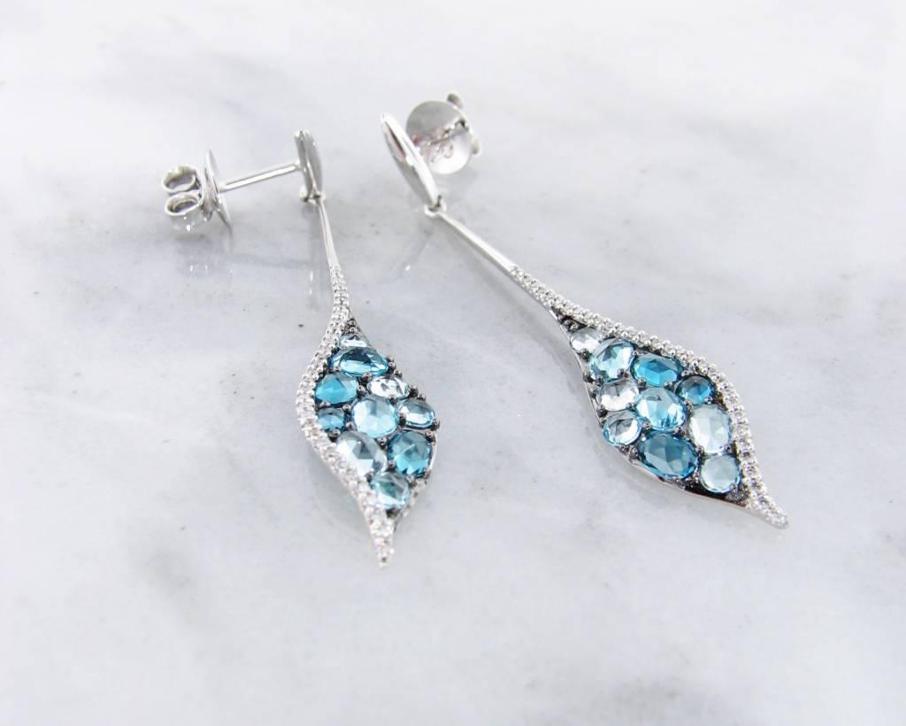 Sleek Blue Topaz White Gold Multi-Stone Earrings