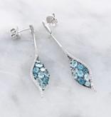 Sleek Blue Topaz White Gold Multi Stone Earrings, Mosaic
