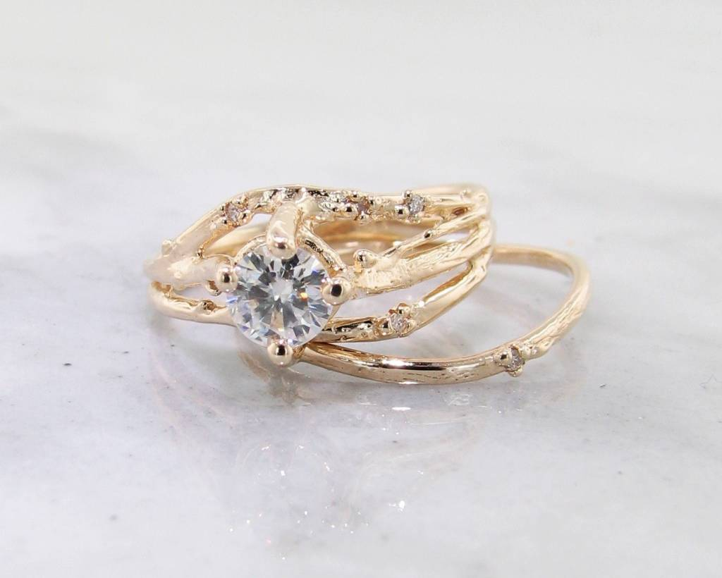 Rustic Yellow Gold, Diamond Wedding Ring Set, Cherry Blossom