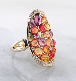 Sleek Multi-Gem Sapphire Yellow Gold Ring, Gem Encrusted Autumn