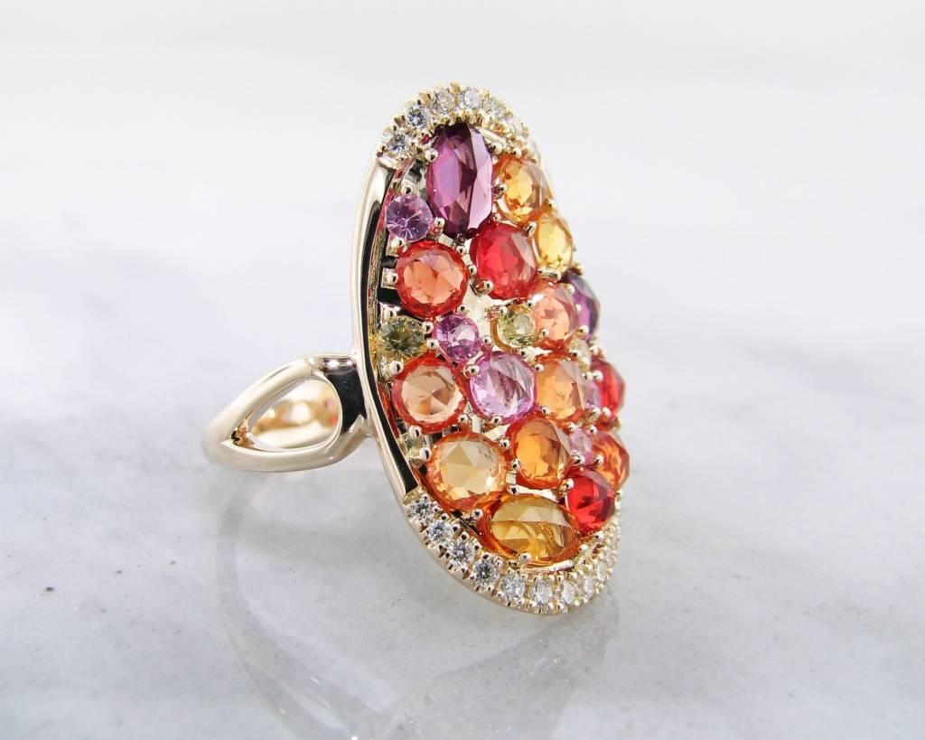 Sleek Multi-Gem Sapphire Yellow Gold Ring, Gem Encrusted Autumn
