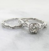 Timeless Bridal White Gold Halo Diamond Wedding Ring Set, Petite