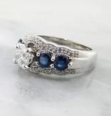 Timeless Bridal Diamond Sapphire White Gold Engagement Ring
