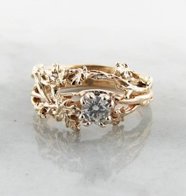 Trending Bridal Diamond Yellow Gold Wedding Set, Maple Leaf