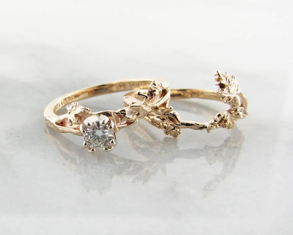 trending bridal diamond yellow gold maple leaf wed wedding set Trending Bridal Diamond Yellow Gold Wedding Set