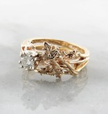 Trending Bridal Diamond Yellow Gold Wedding Set, Maple Leaf