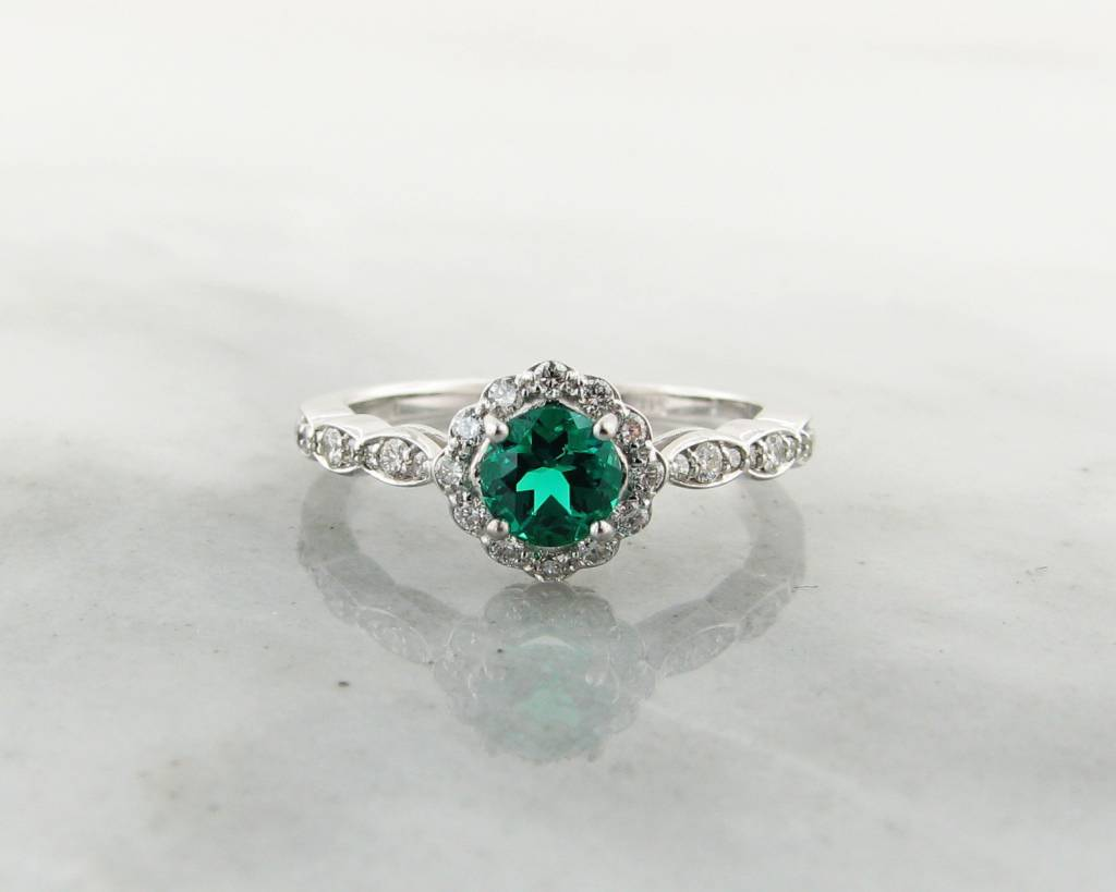 house chatham noble p emerald white grown ring created lab