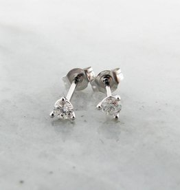 Vintage Diamond Earring Studs, White Gold  0.10ct TDW Martini Style