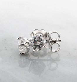 Vintage Diamond Stud Earrings, White Gold, 0.68ct TDW
