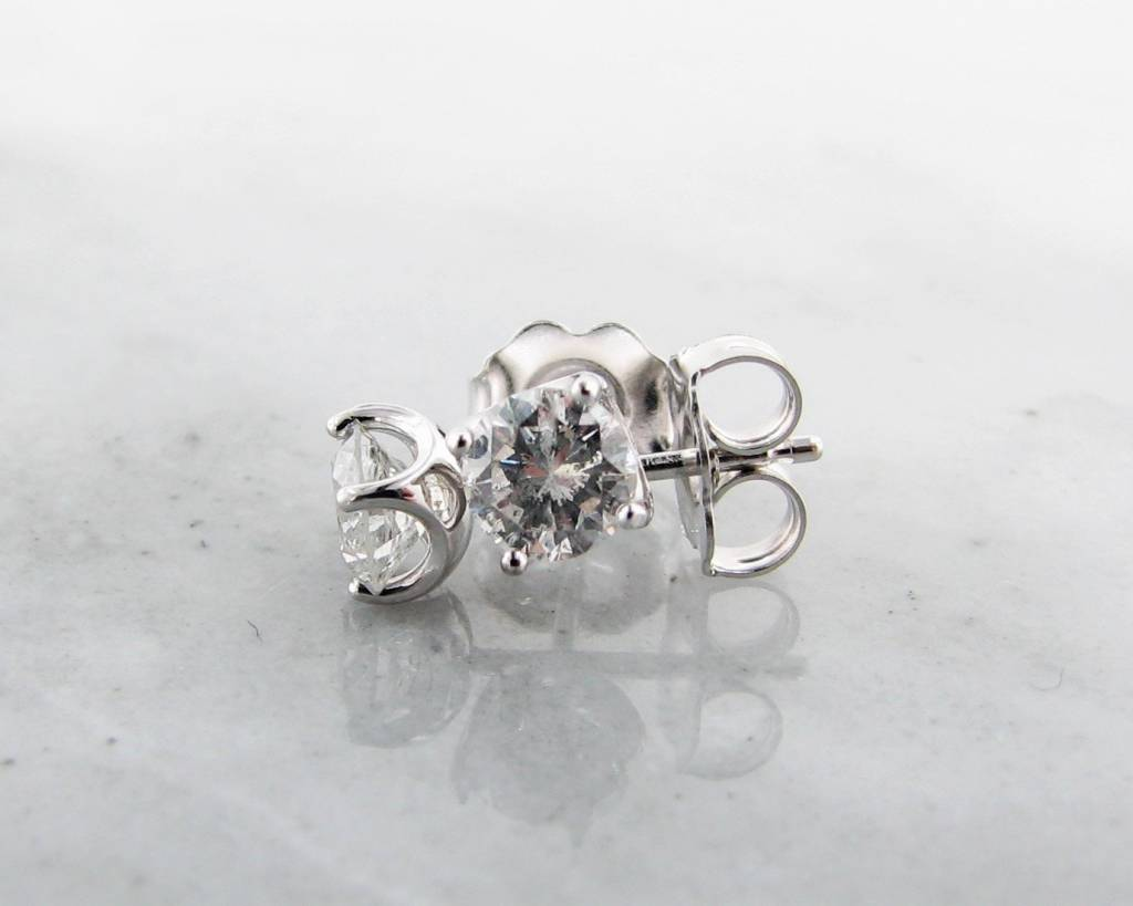Vintage Diamond Stud Earrings White Gold