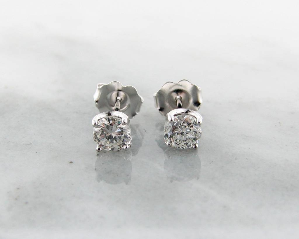 Vintage Diamond Stud Earrings, White Gold, 0.68ct TDW