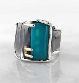 Rustic Chrysocolla Blackened Silver Ring, Silk, Two Tone