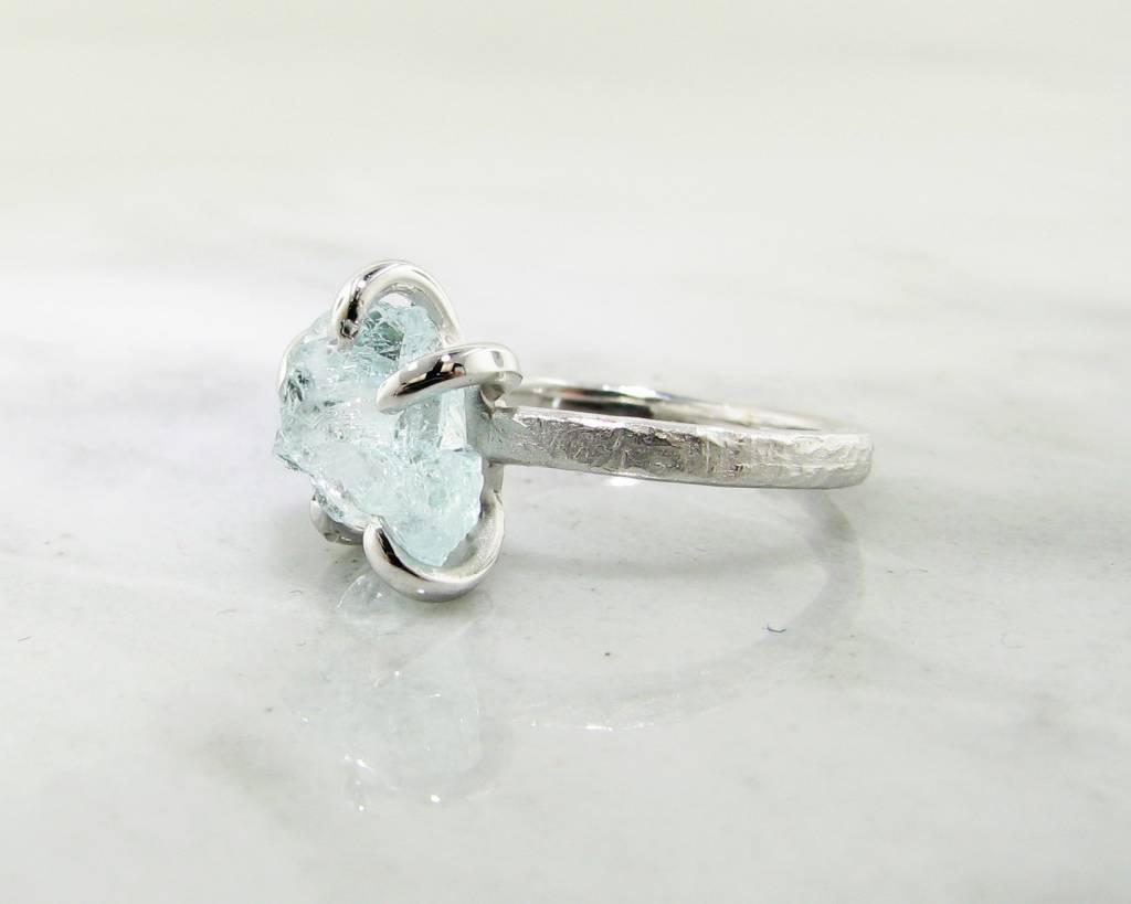 Rustic Raw Aquamarine Silver Ring, Glacier