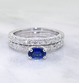 Trending Bridal Sapphire, Diamond White Gold Wedding Ring Set