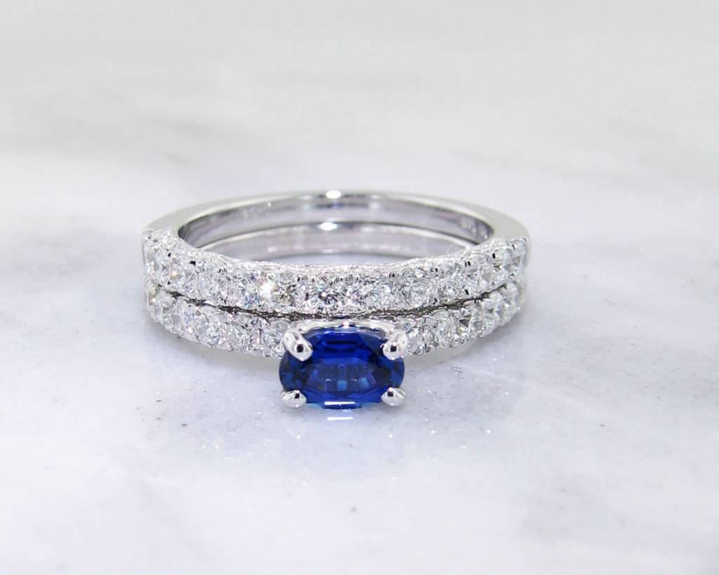 Sapphire Diamond White Gold Engagement Wedding Ring Set 3980