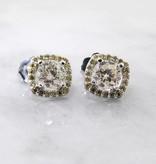 Vintage White Gold Diamond Halo Earrings, Lemondrop Studs