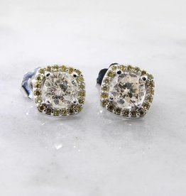 Vintage White Gold Diamond Halo Earrings, Lemondrop Studs