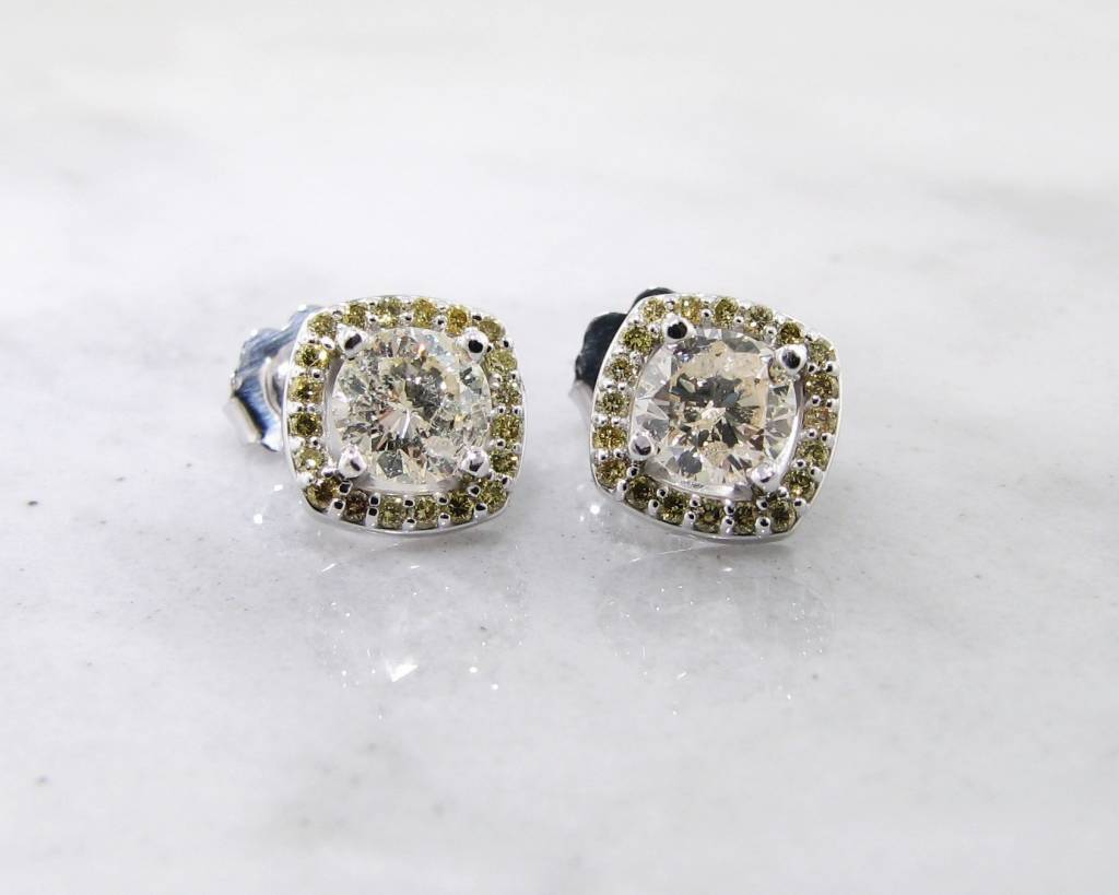 diamond canary plated lab earrings itm iced gold flower cluster screwback out