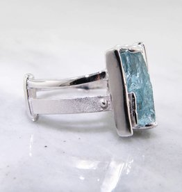 Rustic Raw Aquamarine Silver Ring, Asymmetry