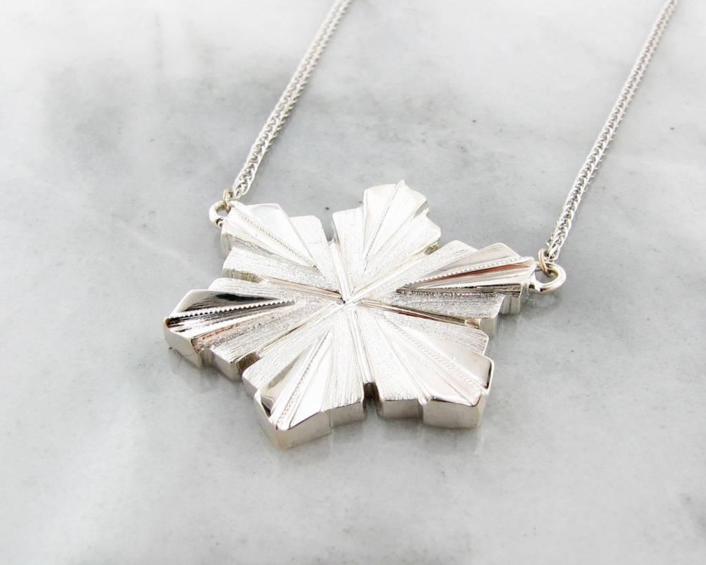 Snowflake Silver Snowflake Pendant, Art Deco
