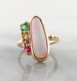 Sleek Opal Yellow Gold Multi-Gem Ring, Juicy