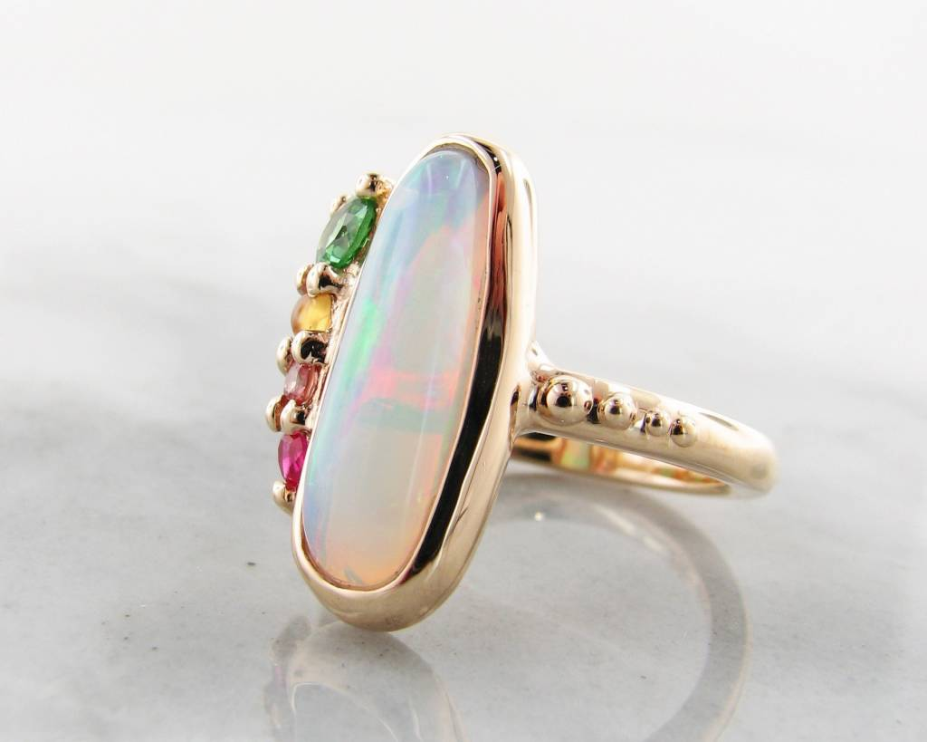 Sleek Opal Yellow Gold Multi-Gem Ring, Juicy