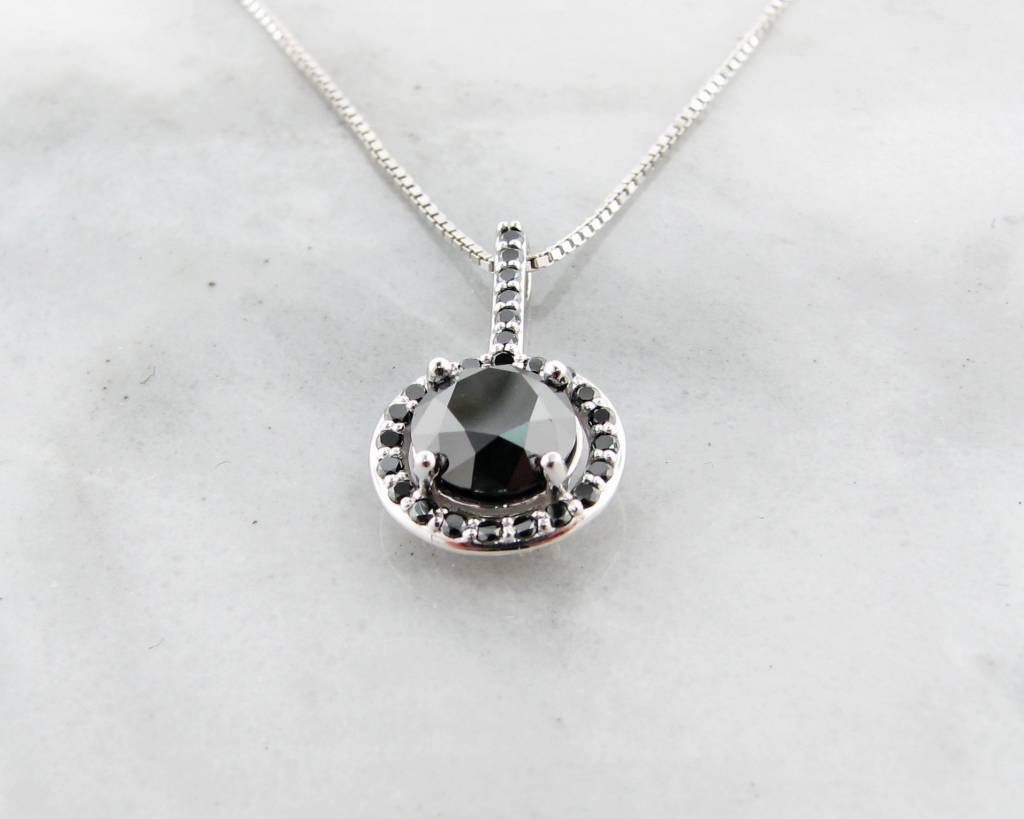 Black diamond white gold necklace contemporary wexford jewelers sleek black diamond white gold necklace aloadofball Images