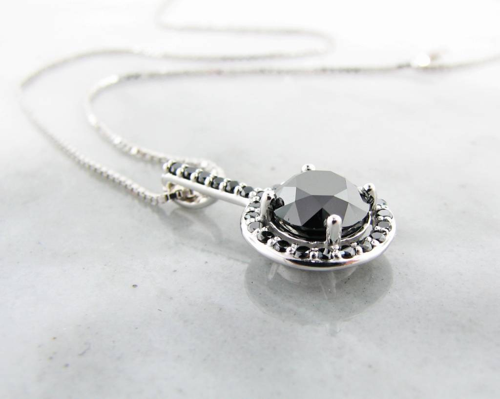 Sleek Black Diamond White Gold Necklace, Contemporary