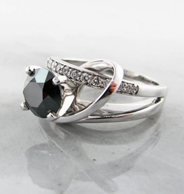 Sleek Black Diamond White Gold Ring, Contemporary