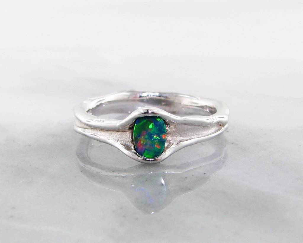 Organic Opal Silver Ring, Vertical, Skinny Melted