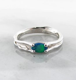 Organic Opal Silver Ring, Pierced, Skinny Melted