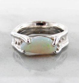 Organic Opal Silver Ring, Melted, Accented