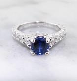 Trending Bridal Diamond Sapphire White Gold Ring Wedding Ring, 1.66ct TDW