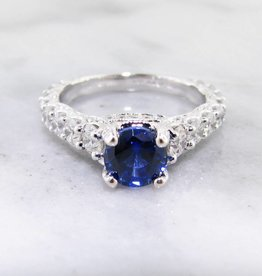 Trending Bridal Diamond Sapphire White Gold Ring Wedding Ring, 1.66ct TDW