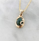 Motion Black Opal Yellow Gold Necklace, Teardrop Swirl