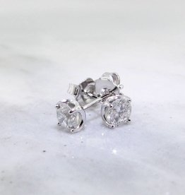 Vintage White Gold Diamond Earrings, .50 TDW