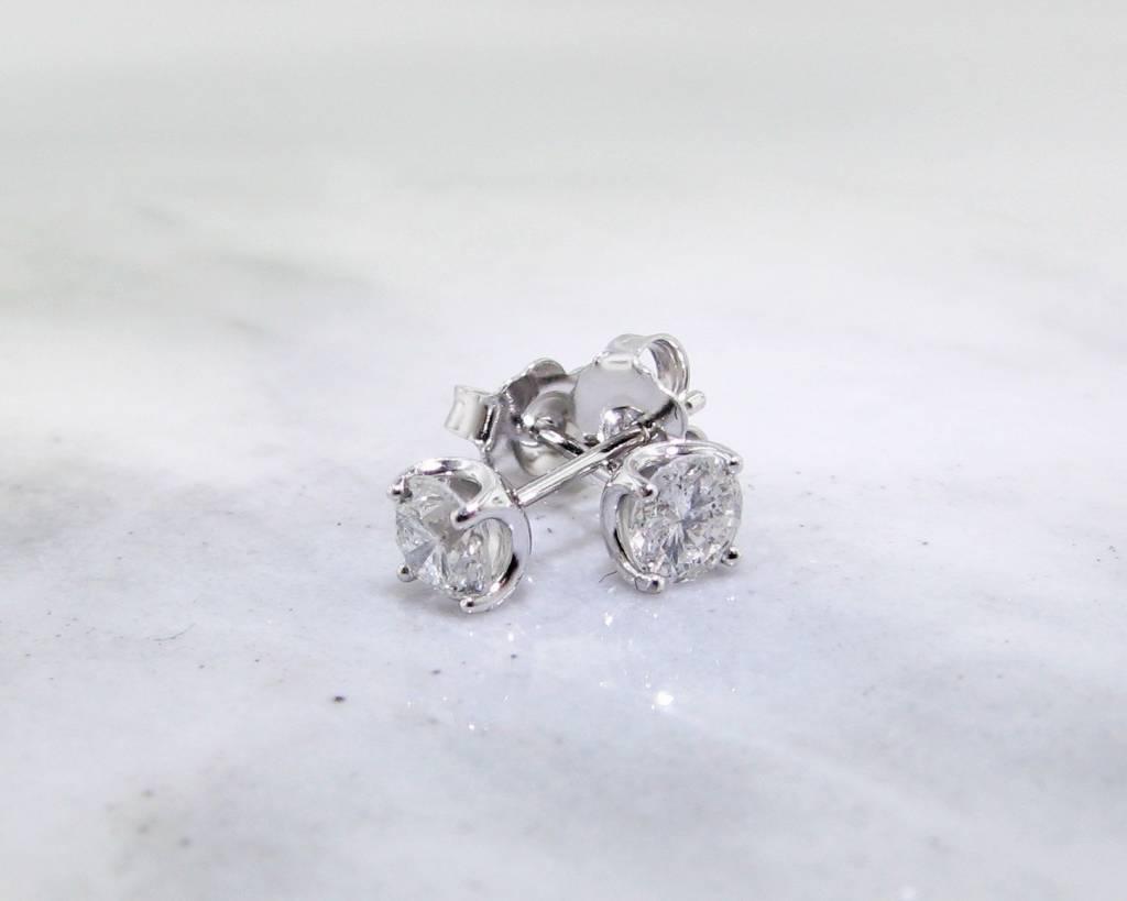 Vintage White Gold Diamond Earrings, .50 TDW