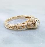 Vintage Diamond Yellow Gold Ring, Ornate Filigree
