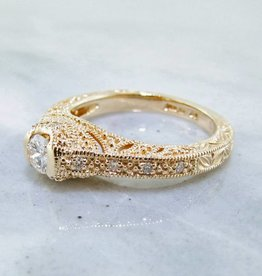 Vintage Diamond Yellow Gold Ring, Ornate Filigree