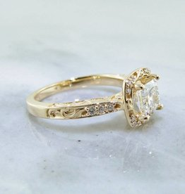 Trending Bridal Princess Cut Diamond Ring, Yellow Gold 1ct