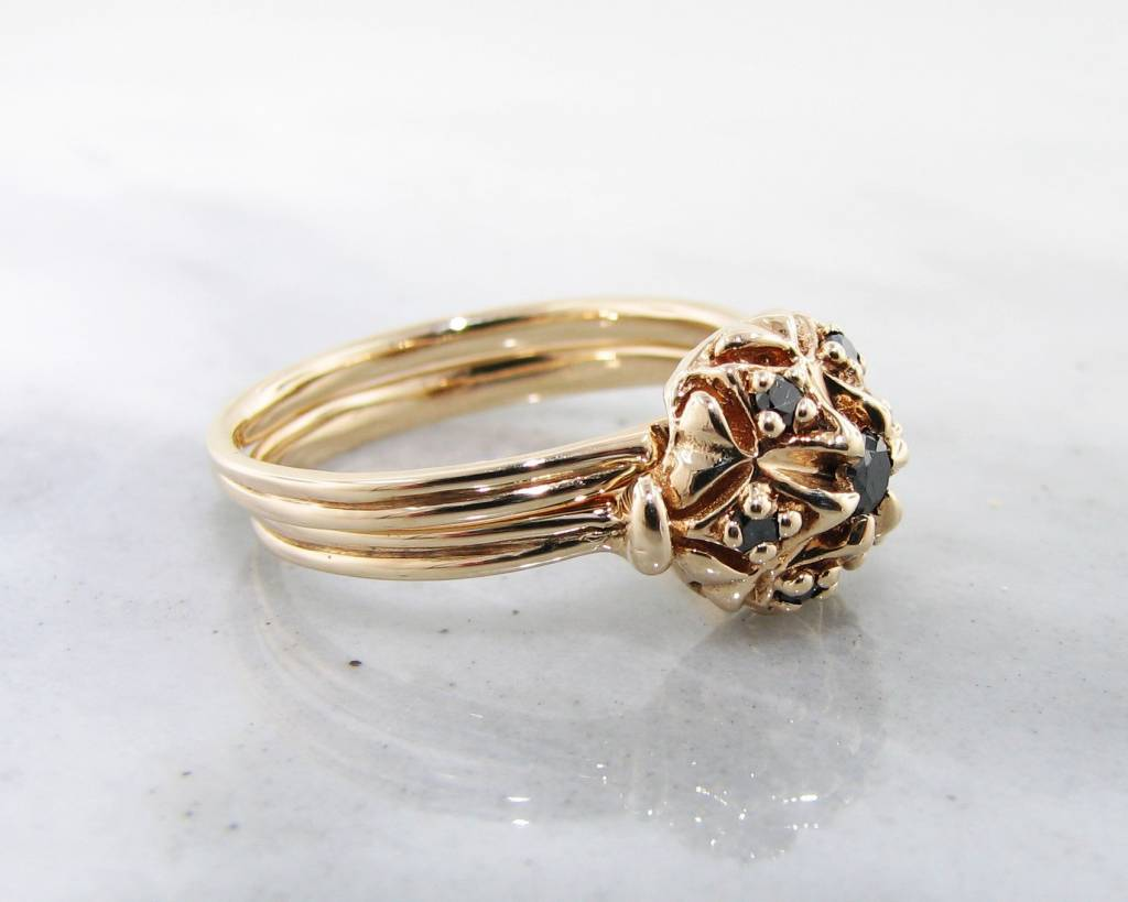 Vintage Black Diamond Yellow Gold Wedding Set, Bisnonna
