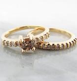 Timeless Bridal Cognac Diamond Wedding Ring Set 18k, Wexford Standard